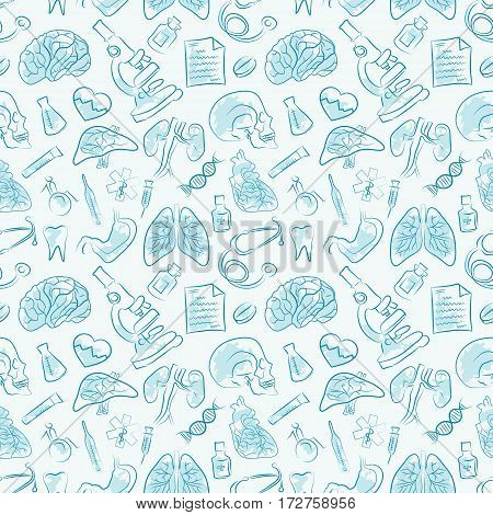Vector medicine and health design seamless pattern.