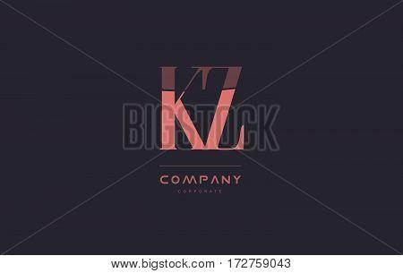Kz K Z Pink Vintage Retro Letter Company Logo Icon Design