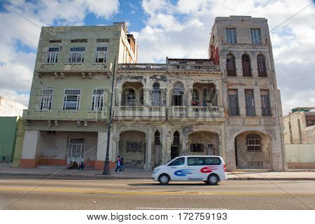 HavanaCuba - January 212017: Havana Malecon. The Malecon (officially Avenida de Maceo) is a broad esplanade roadway and seawall which stretches for 8 km (5 miles) along the coast in Havana