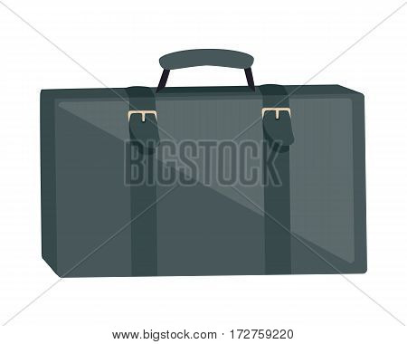 Gray suitcase isolated on white. Summer vacation, travel, journey, trip concept. Luggage bag with trolley. Business travel concept. Portfolio, bag and briefcase, travel case. Vector in flat style.
