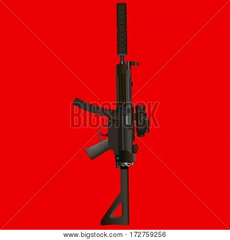 Military rifle on a red background. Vector illustration