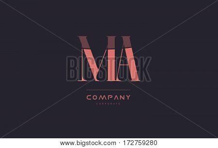 Ma M A Pink Vintage Retro Letter Company Logo Icon Design