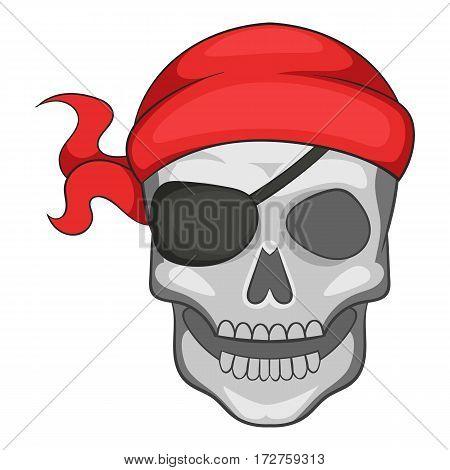 Pirate skull in bandane icon. Cartoon illustration of pirate skull in bandane vector icon for web