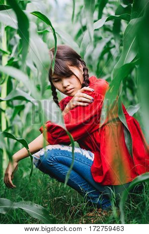 Young Women Braided Hair Wearing A Red Shirt Sitting In A Cornfield. Hipster Concept.