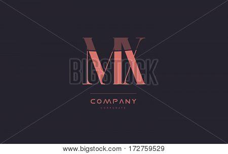 Mx M X Pink Vintage Retro Letter Company Logo Icon Design
