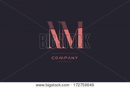 Nm N M Pink Vintage Retro Letter Company Logo Icon Design