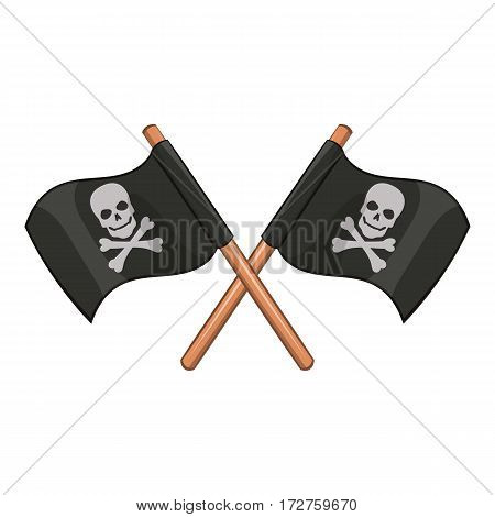 Crossed pirate flags with skull and crossbones icon. Cartoon illustration of crossed pirate flags with skull and crossbones vector icon for web poster