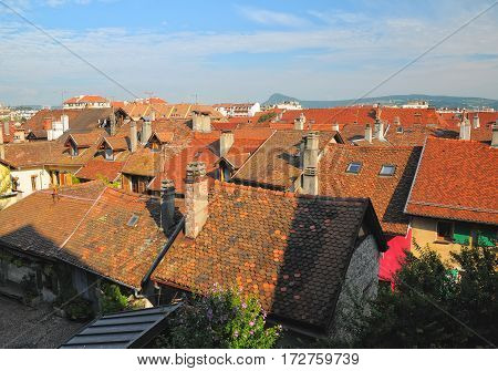Roofs Of Medieval Buildings In Annecy, France