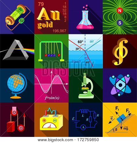 Science research icons set. Flat illustration of 16 science research vector icons for web