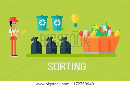 Garbage sorting concept. Man sorting garbage. Waste recycling concept. Sorting process different types of waste. Garbage destroying. Website design template. Vector illustration in flat style design