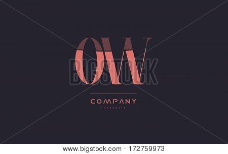 Ow O W Pink Vintage Retro Letter Company Logo Icon Design