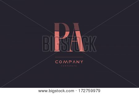 Pa P A Pink Vintage Retro Letter Company Logo Icon Design