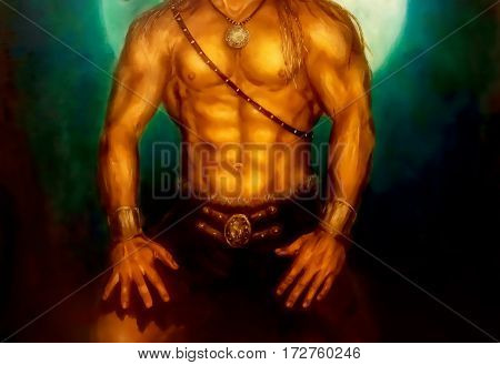 Warrior body with jewelry and night mooin in background. Painting and graphic design