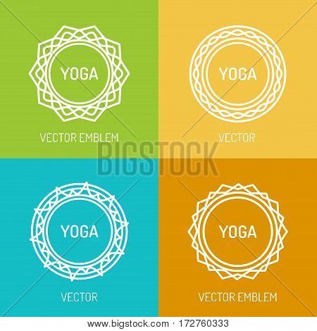 Yoga logo template set for your yoga center, yoga studio, hot yoga and meditation class. Health care, sport, fitness logo design elements. Vector Illustration
