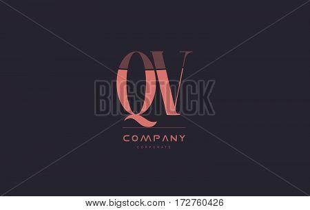 Qv Q V Pink Vintage Retro Letter Company Logo Icon Design