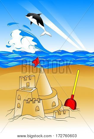 beach with children's toys and sandcastles. vector illustration