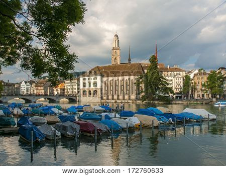 View Of Moored Boats On Limmat River In Zurich, Switzerland