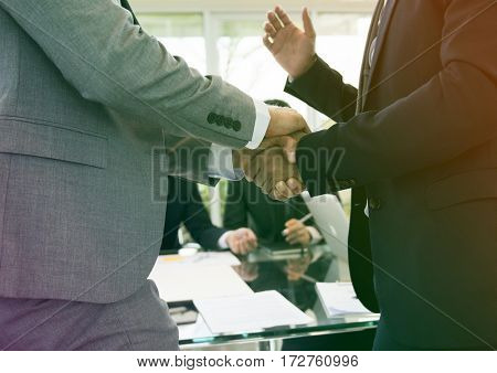 Photo Gradient Style with Business Partners Introductory Handshake Bow