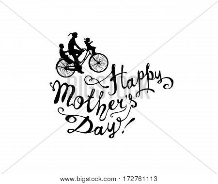 Happy Mother's day! Bike with two children and women