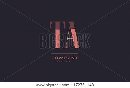 Ta T A Pink Vintage Retro Letter Company Logo Icon Design
