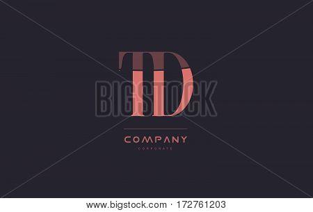 Td T D Pink Vintage Retro Letter Company Logo Icon Design