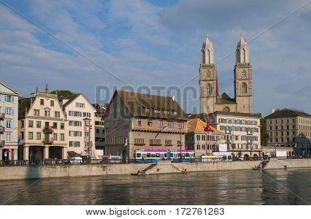Zurich Old City View From Embankment Of Limmat River