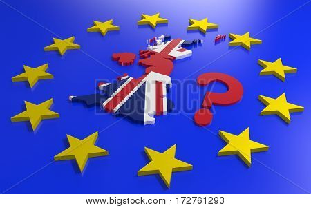 Great Britain map with flag and EU stars. 3D rendering
