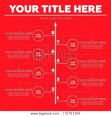Infographics elements. Eight steps on red background