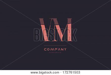 Vm V M Pink Vintage Retro Letter Company Logo Icon Design