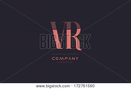 Vr V R Pink Vintage Retro Letter Company Logo Icon Design