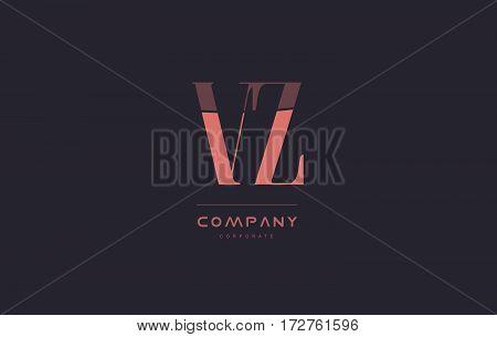 Vz V Z Pink Vintage Retro Letter Company Logo Icon Design
