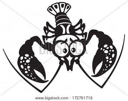 cartoon crayfish lobster black and white vector