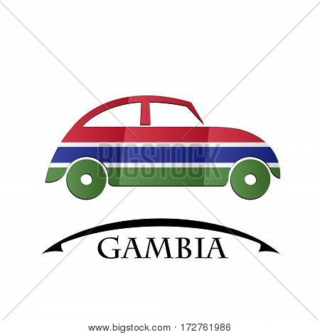 car icon made from the flag of Gambia