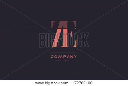 Ze Z E Pink Vintage Retro Letter Company Logo Icon Design