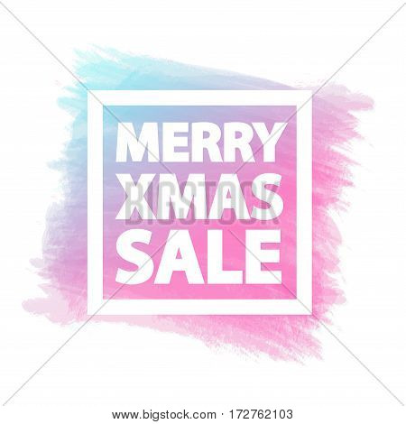 Merry Christmas sale banner for stocks such as black friday sale, promotion, special offer, advertisement, hot price and discount poster watercolor brush strokes shapes with frame -stock vector