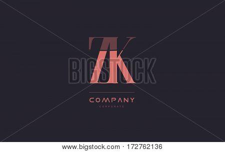 Zk Z K Pink Vintage Retro Letter Company Logo Icon Design