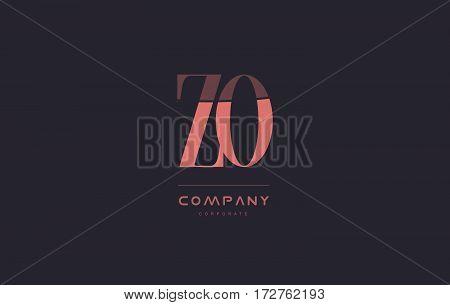 Zo Z O Pink Vintage Retro Letter Company Logo Icon Design