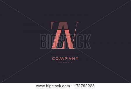 Zv Z V Pink Vintage Retro Letter Company Logo Icon Design