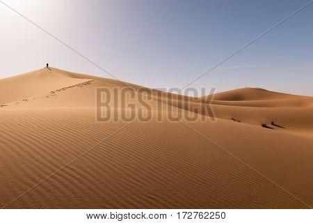 Panormaic view over the dunes of Erg Chebbi Desert near Merzouga, Morocco.