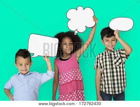 Little Children Holding Chat Bubble Smiling