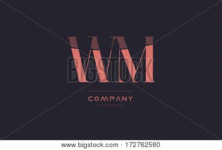 Wm W M Pink Vintage Retro Letter Company Logo Icon Design