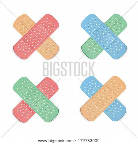 Medical Patch Vector. First Aid Band Plaster Strip Medical Patch Icon Set. Two Sides. Different Plasters Types. Realistic Illustration Isolated On White