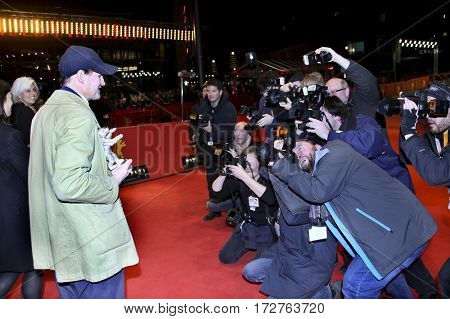 Georg Friedrich pose with Silver Bear for Best Actor Award for 'Bright Nights' after the closing ceremony of the 67th  Film Festival Berlin at Berlinale Palace on February 18, 2017 in Berlin, Germany.