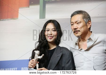 Kim Min-hee, director Hong Sangsoo attend the award winners press conference during the 67th Film Festival Berlin at Grand Hyatt Hotel on February 18, 2017 in Berlin, Germany.