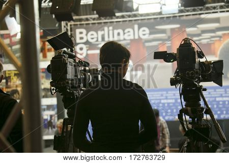 Cameraman  attends the award winners press conference during the 67th Berlinale International Film Festival Berlin at Grand Hyatt Hotel on February 18, 2017 in Berlin, Germany.