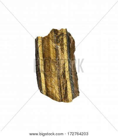 Semiprecious natural stone isolated on white background.Unpolished raw tiger eye used in esoteric and alternative medicine.