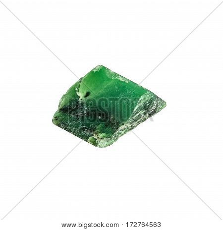 Semiprecious natural stone isolated on white background. Colorful green nephrite gemstones.