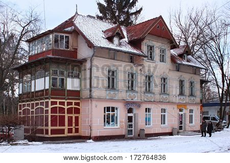 SVETLOGORSK, KALININGRAD REGION, RUSSIA - FEBRUARY 13, 2011: Old former german building in famous russian sea resort Svetlogorsk (Rauschen) at winter. Kaliningrad region Russia.
