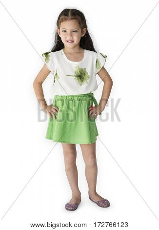 Young asian girl smiling full body portrait