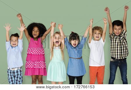 Little Children Friends Hands Up